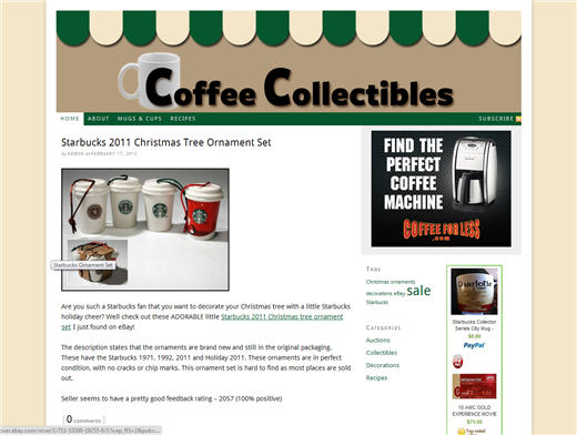 Coffee Collectibles Site Screenshot