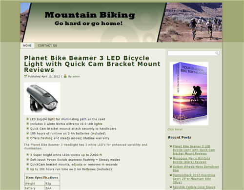 mountain biking niche website preview