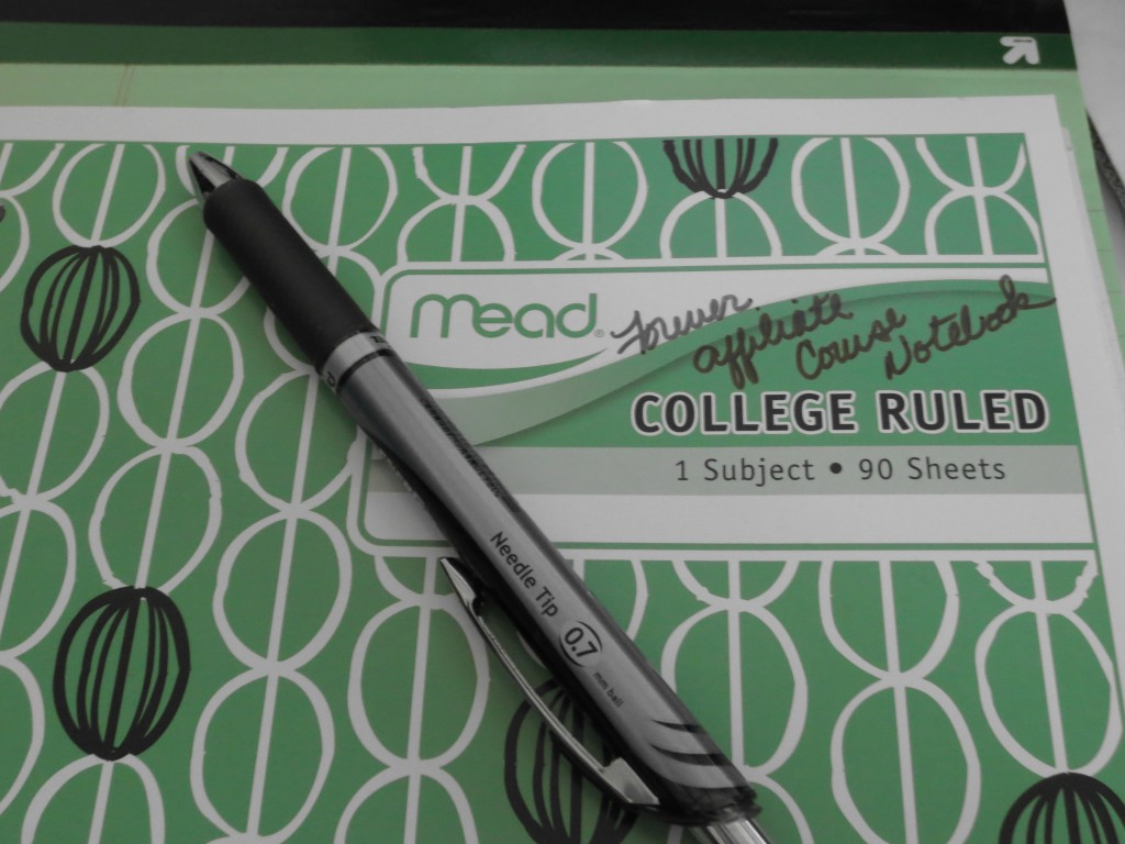 My Forever Affiliate notebook, legal pad, and pen...
