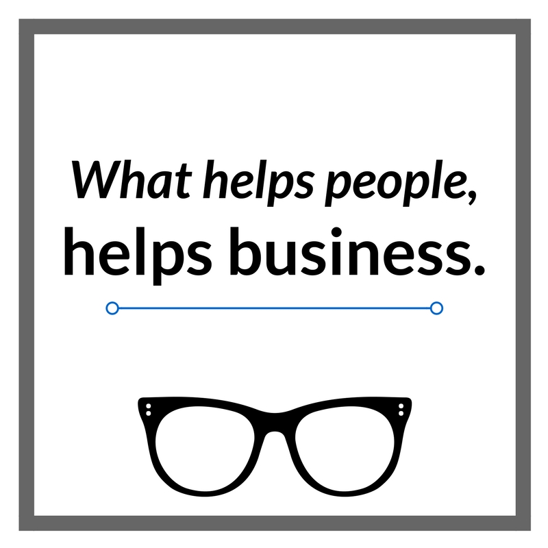 what helps people helps business