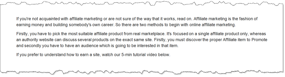 screen capture of paragraph generated by Article Forge on the topic of how to start affiliate marketing