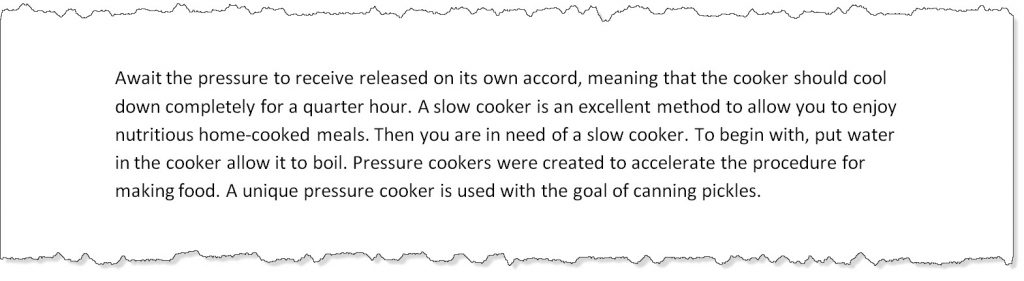 screen capture of Article Forge generated content about pressure cooker reviews