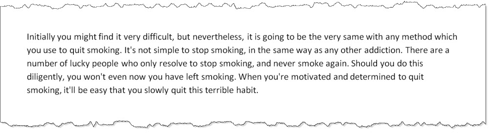 screen capture of an example paragraph generated by Article Forge about how to quit smoking