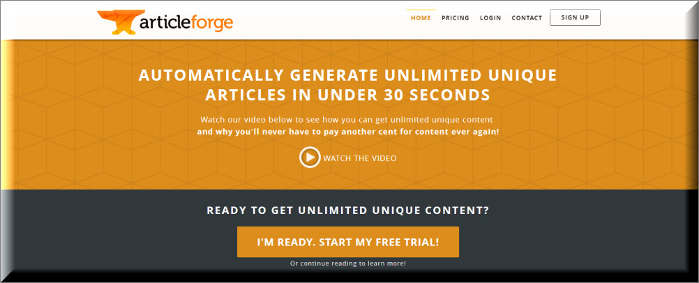 screen capture of Article Forge homepage at time of review