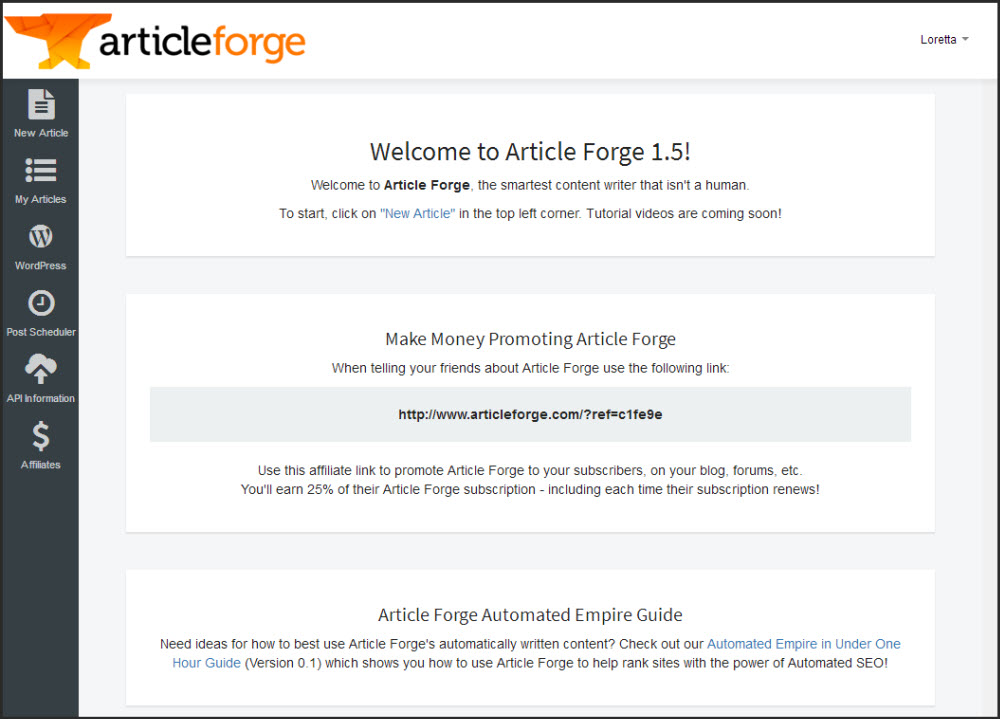 screen capture of the Article Forge dashboard