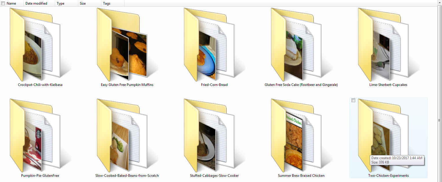 each recipe in a folder with accompanying photos