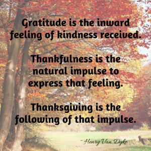 24.	Gratitude is the inward feeling of kindness received. Thankfulness is the natural impulse to express that feeling. Thanksgiving is the following of that impulse. ~ Henry Van Dyke