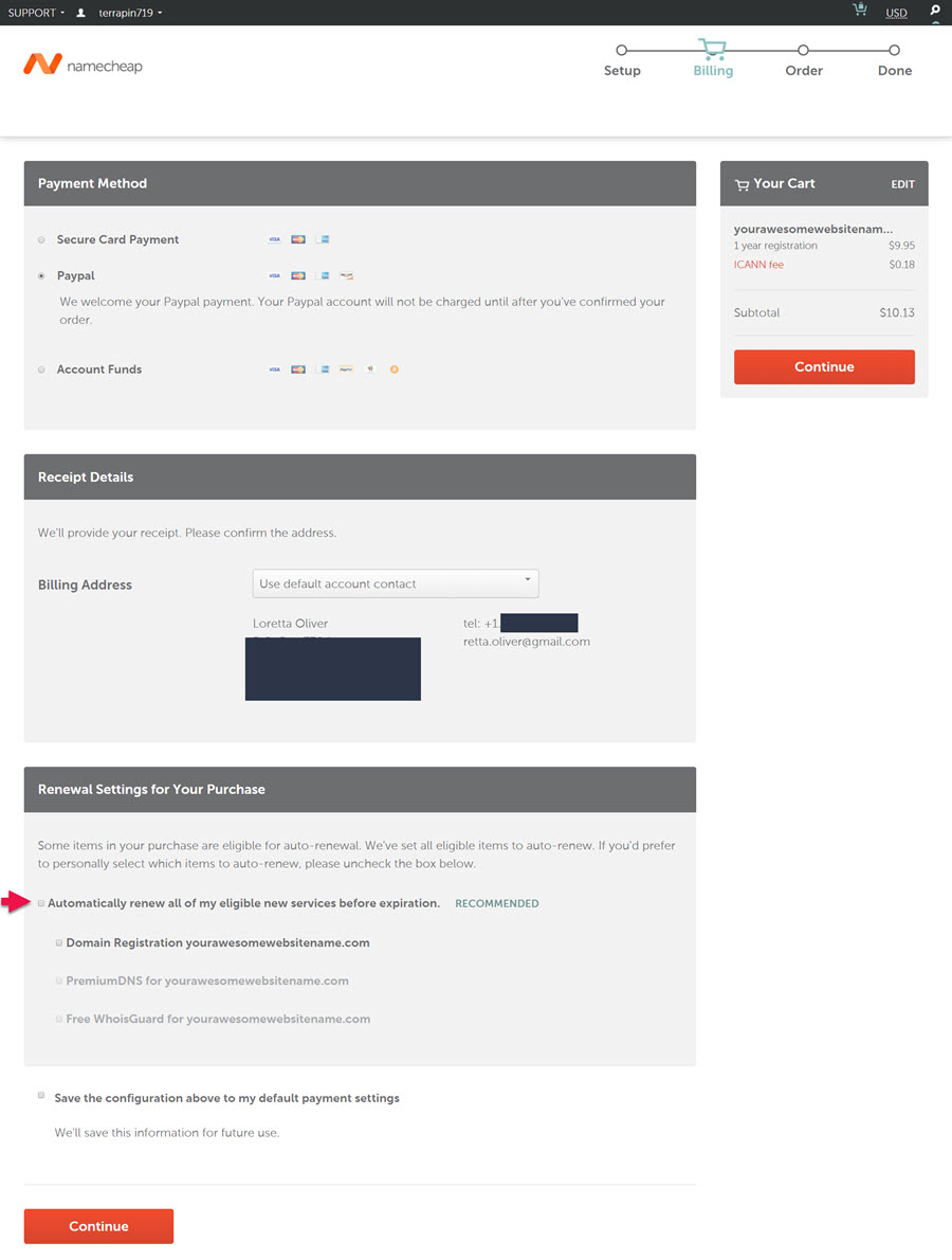 namecheap cart enter payment information; credit card or paypal, billing address and whether to autorenew
