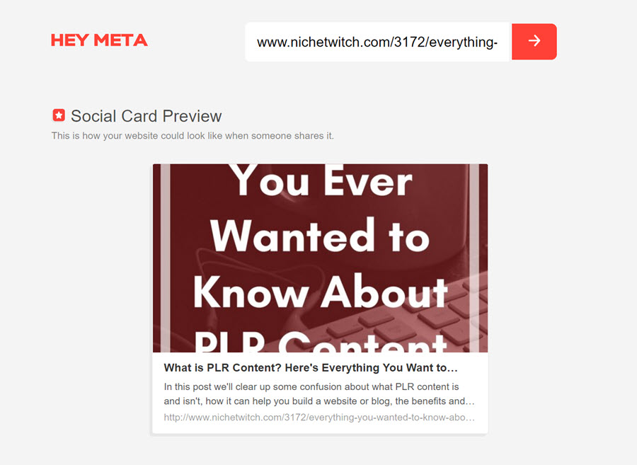 HeyMeta preview of the website meta tag checker