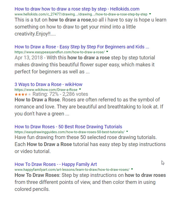 Screenshot of how to draw a rose search engine results page