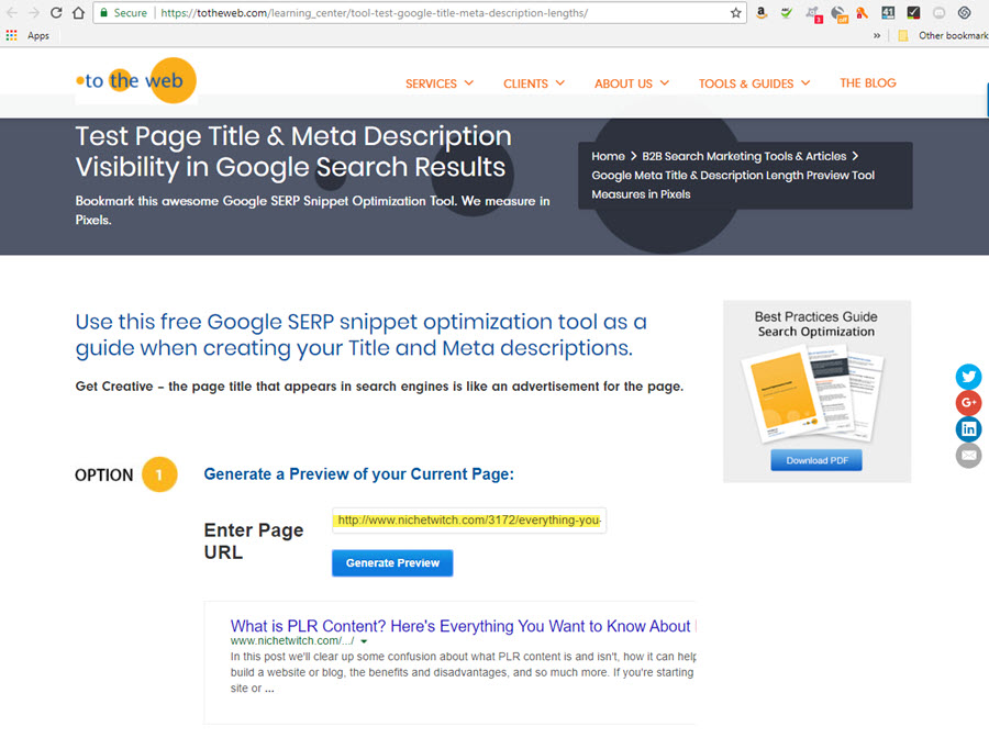 TotheWeb meta description checker preview tool
