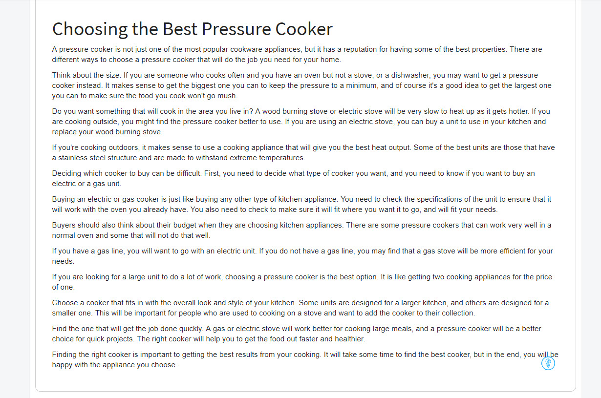 Article Forge generated article about choosing the best pressure cooker