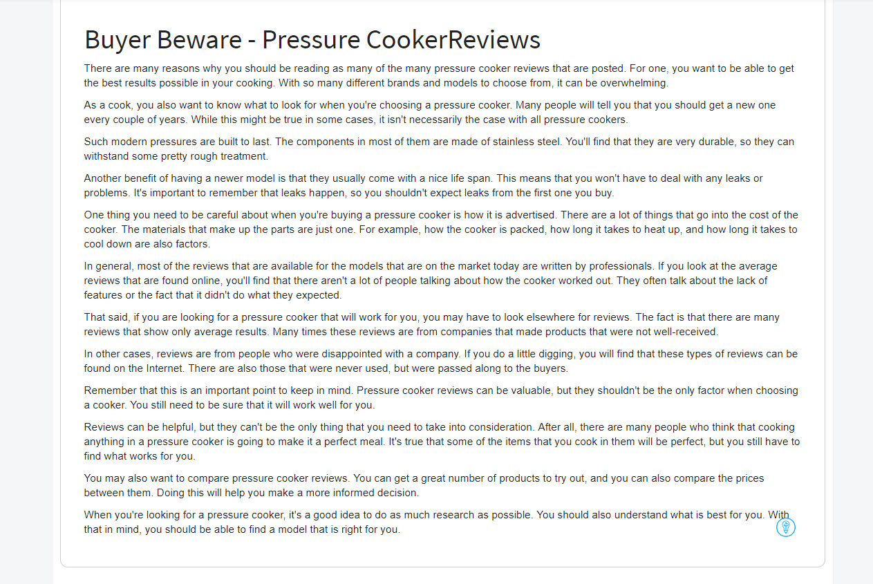 Article Forge generated article about pressure cooker reviews