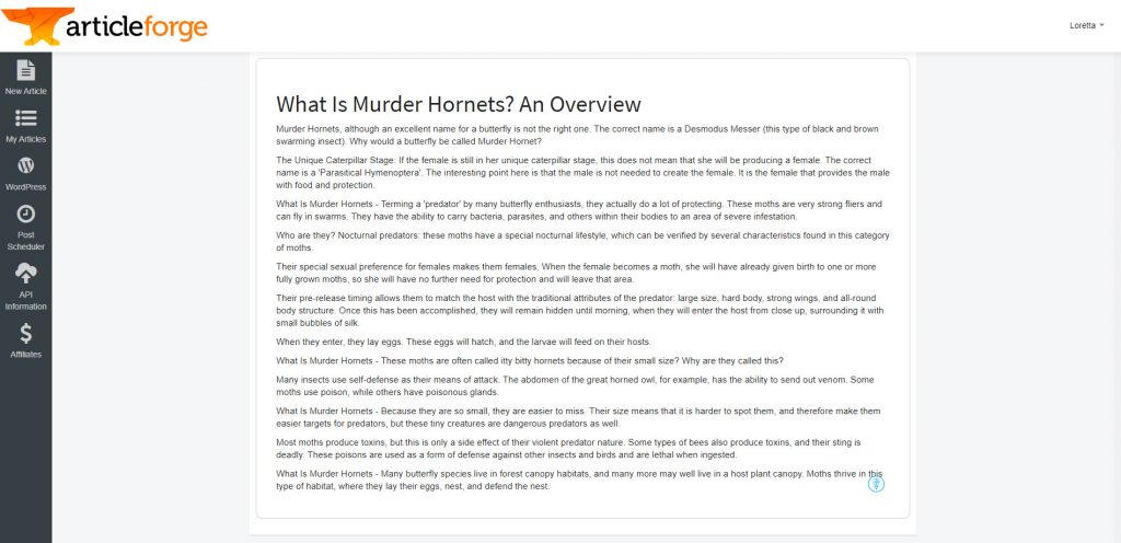 Article Forge Version 2 example generated with keywords for 'murder hornets' and 'what are murder hornets'