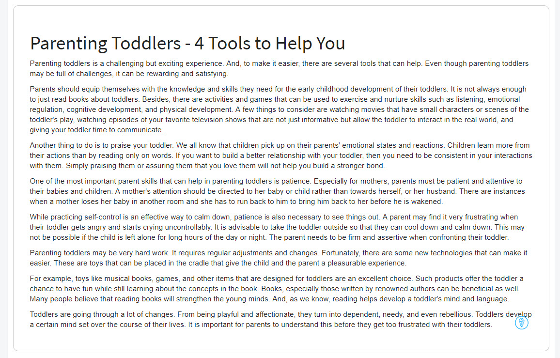 generated article on parenting toddlers inside of Article Forge