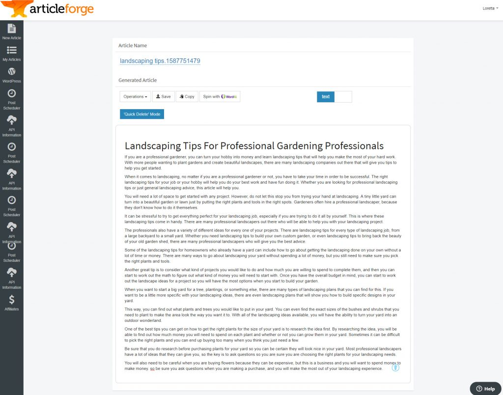 screenshot of a generated article inside Article Forge version 2 using keyword landscaping tips