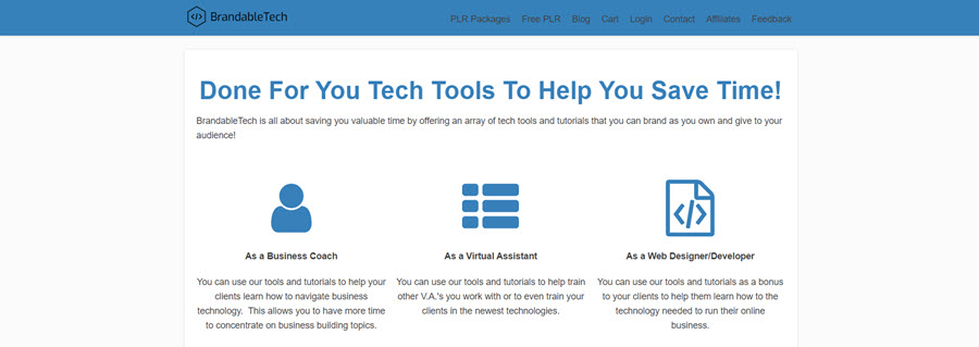 Brandable Tech PLR homepage screenshot