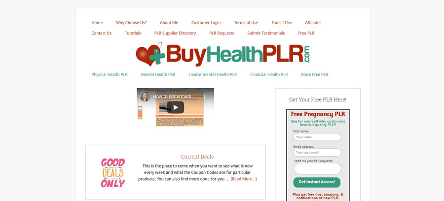 Buy Health PLR homepage screenshot