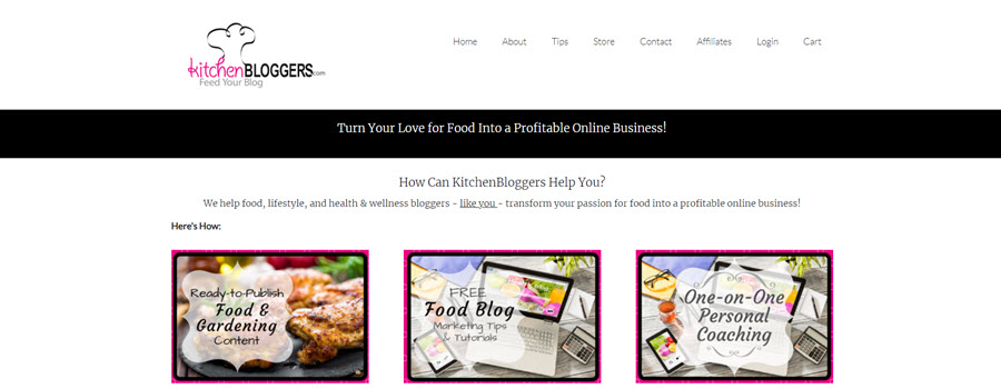 Kitchen Bloggers PLR homepage screenshot
